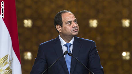 Egyptian President Abdel-Fattah al-Sisi looks on during a joint press conference with Cyprus' President Nicos Anastasiades and Greek Prime Minister Antonis Samaras (unseen) following a meeting in Cairo on November 8, 2014. AFP PHOTO / KHALED DESOUKI        (Photo credit should read KHALED DESOUKI/AFP/Getty Images)